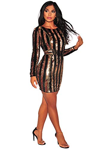 c8e9f72c Dress for Women Sexy Bodice Gold Shiny Sequin Night Party Long Slevees with  Zip Back (Large, Black-Gold) | Ghana Express Online